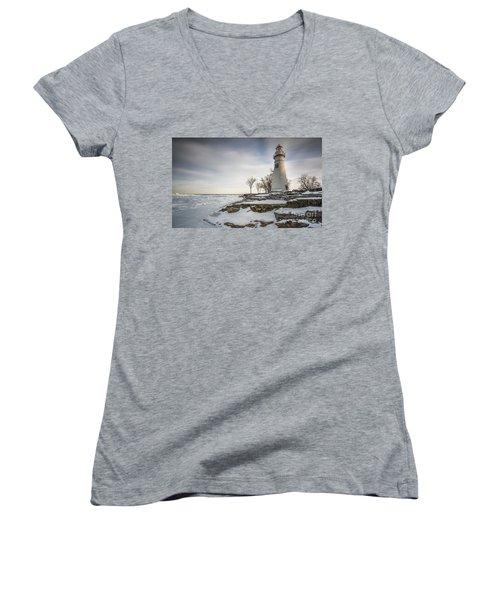 Marblehead Lighthouse Winter Women's V-Neck T-Shirt (Junior Cut) by James Dean