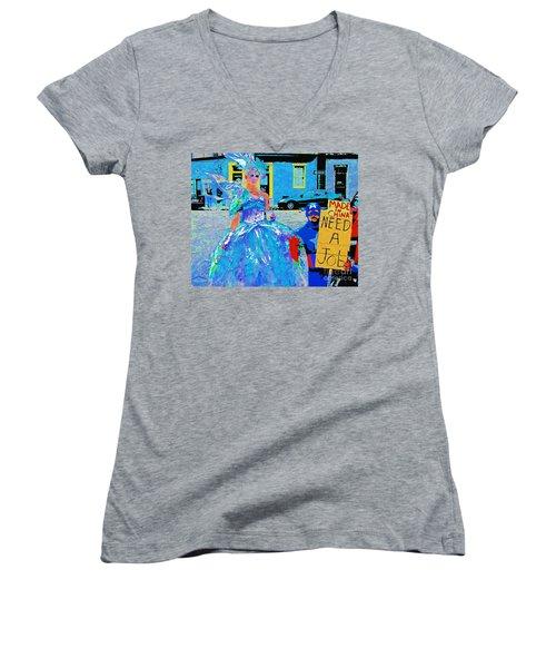 Mardi Gras New Orleans Women's V-Neck T-Shirt (Junior Cut) by Luana K Perez