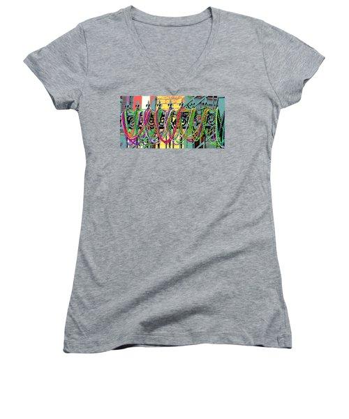 Mardi Gras On Fleur-de-lis Women's V-Neck T-Shirt (Junior Cut) by Luana K Perez