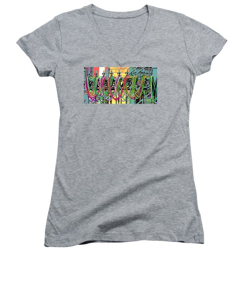 Mardi Gras On Fleur-de-lis Women's V-Neck T-Shirt