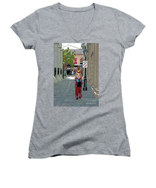 Mardi Gras In French Quarter Women's V-Neck T-Shirt