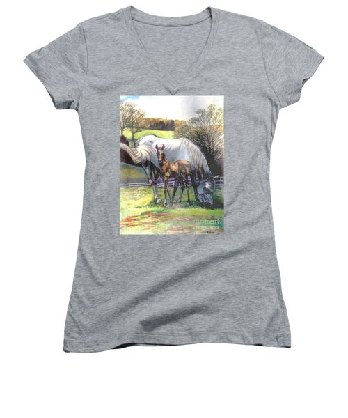 Mare And Foal Women's V-Neck (Athletic Fit)