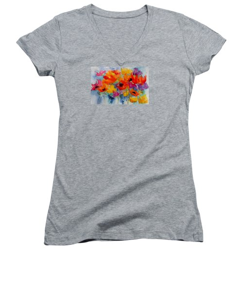 Women's V-Neck T-Shirt (Junior Cut) featuring the painting Marianne's Garden by Anne Duke
