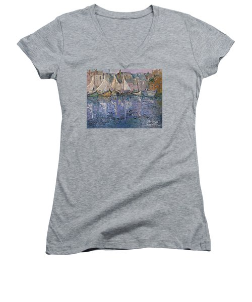 Women's V-Neck T-Shirt (Junior Cut) featuring the painting Marina by AmaS Art
