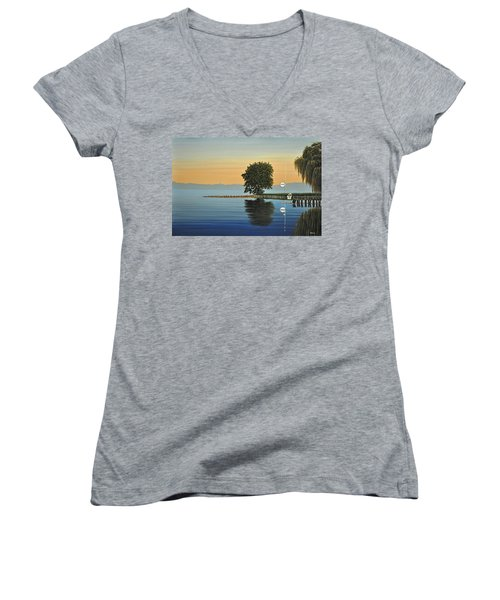 Marina Morning Women's V-Neck T-Shirt (Junior Cut) by Kenneth M  Kirsch