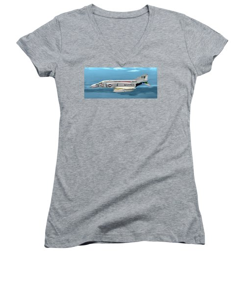 Marine F-4 Phantom  Painting Women's V-Neck (Athletic Fit)
