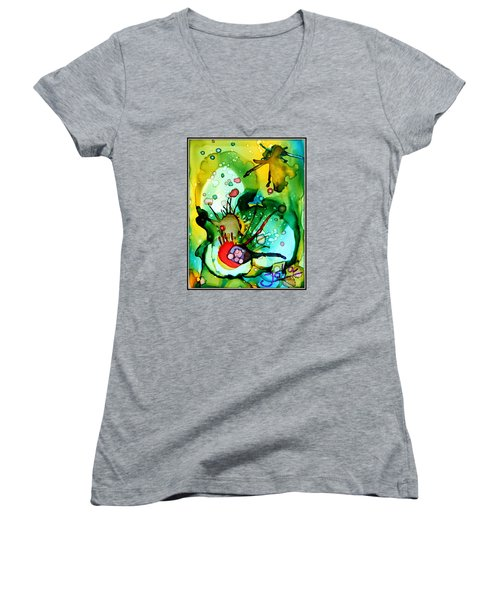 Marine Habitats Women's V-Neck T-Shirt (Junior Cut) by Jolanta Anna Karolska