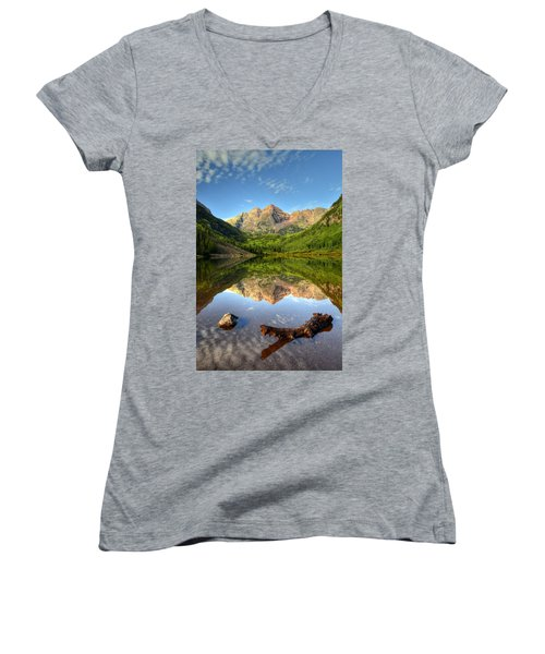 Maroon Bells And Maroon Lake Women's V-Neck T-Shirt (Junior Cut) by Ken Smith