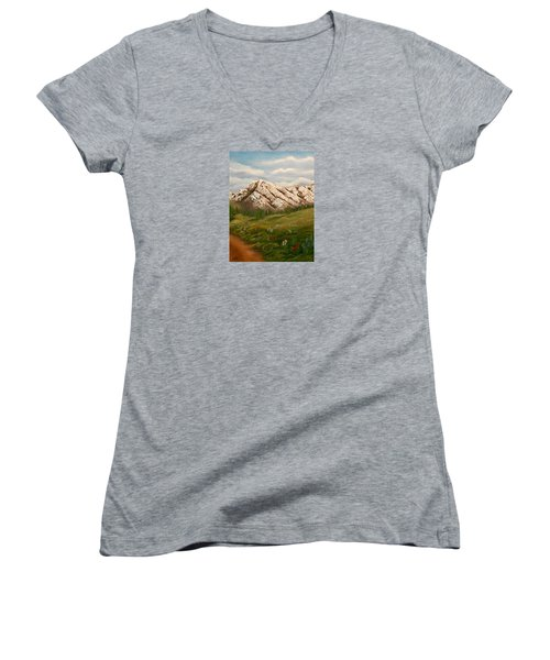 Women's V-Neck T-Shirt (Junior Cut) featuring the painting Maroon Trail Splendor by Sheri Keith