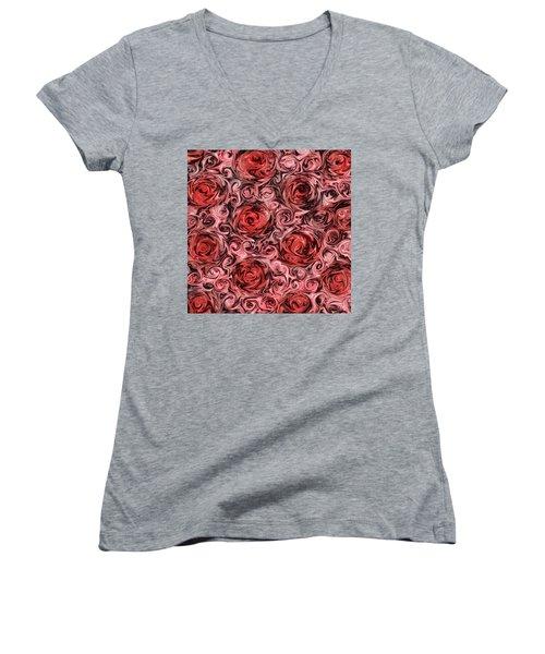 Marsala Roses Women's V-Neck