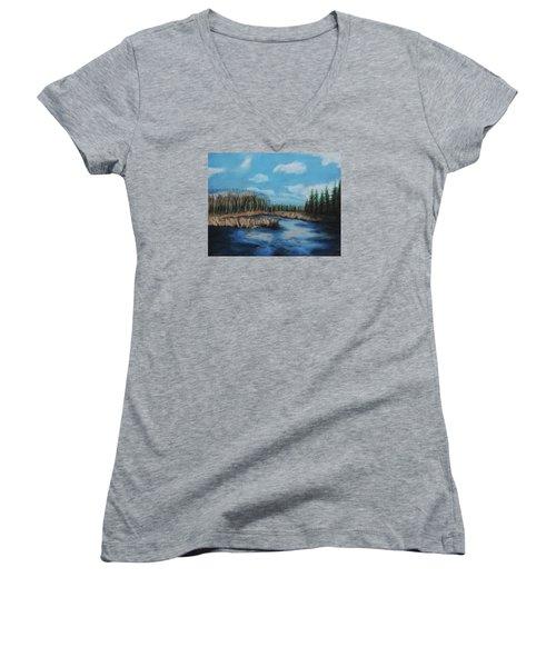 Marshland 1 Women's V-Neck T-Shirt (Junior Cut) by Jeanne Fischer