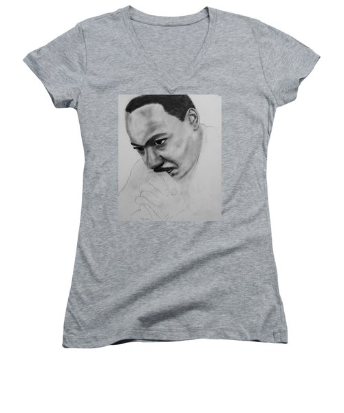 Women's V-Neck T-Shirt (Junior Cut) featuring the drawing Martin Luther King Jr. Mlk Jr. by Michael Cross