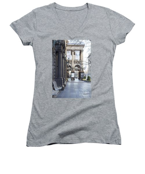 Marvellous Melbourne 3 Women's V-Neck T-Shirt (Junior Cut) by Linda Lees