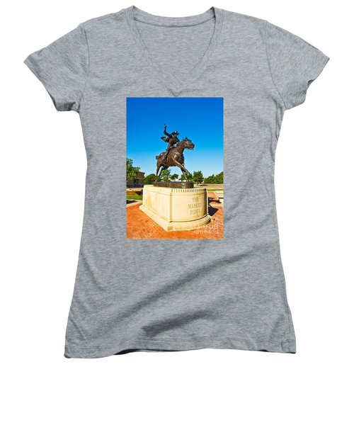 Women's V-Neck featuring the photograph Masked Rider Statue by Mae Wertz