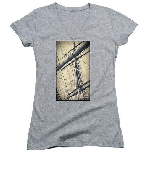 Mast And Rigging Postcard Women's V-Neck T-Shirt