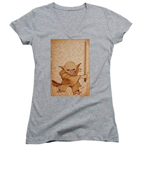 Women's V-Neck featuring the painting Master Yoda Jedi Fight Beer Painting by Georgeta  Blanaru