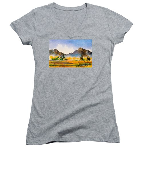 Women's V-Neck T-Shirt (Junior Cut) featuring the painting Matanuska Autumn by Teresa Ascone