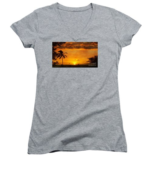 Maui Sunset Dream Women's V-Neck (Athletic Fit)
