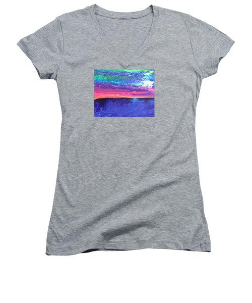 Maui Sunset Women's V-Neck T-Shirt (Junior Cut) by Ralph White