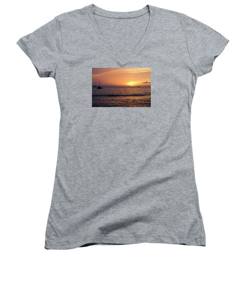Maui Sunset Women's V-Neck (Athletic Fit)