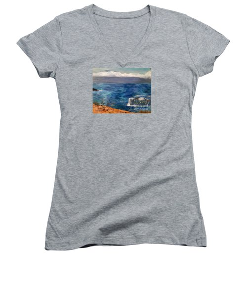 Frida Goes To Maui Women's V-Neck T-Shirt (Junior Cut) by Vanessa Palomino