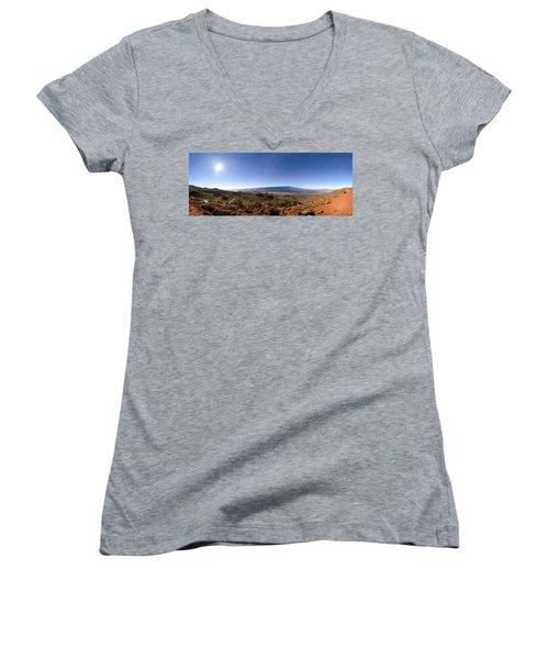 Mauna Loa Moonlight Panorama Women's V-Neck (Athletic Fit)
