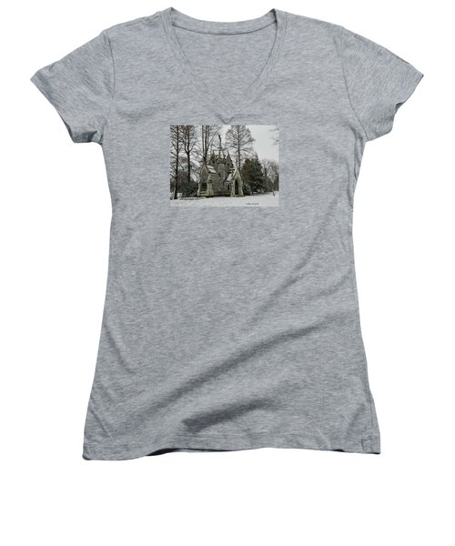 Women's V-Neck T-Shirt (Junior Cut) featuring the photograph Mausoleum In Winter by Kathy Barney