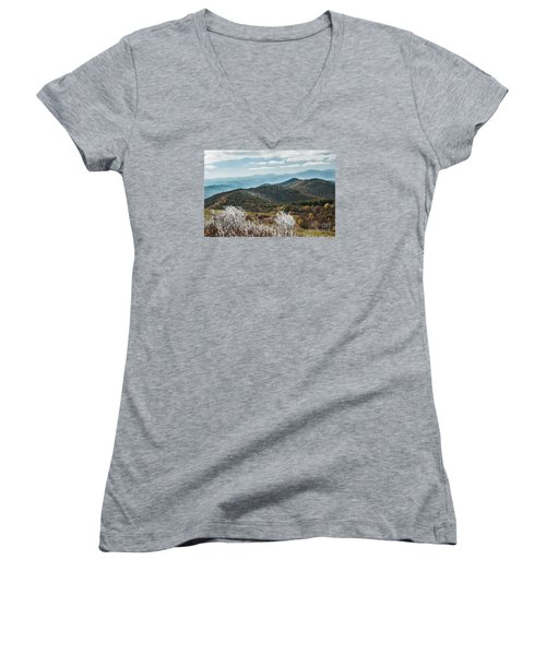Women's V-Neck T-Shirt (Junior Cut) featuring the photograph Max Patch In Appalachian Mountains by Debbie Green