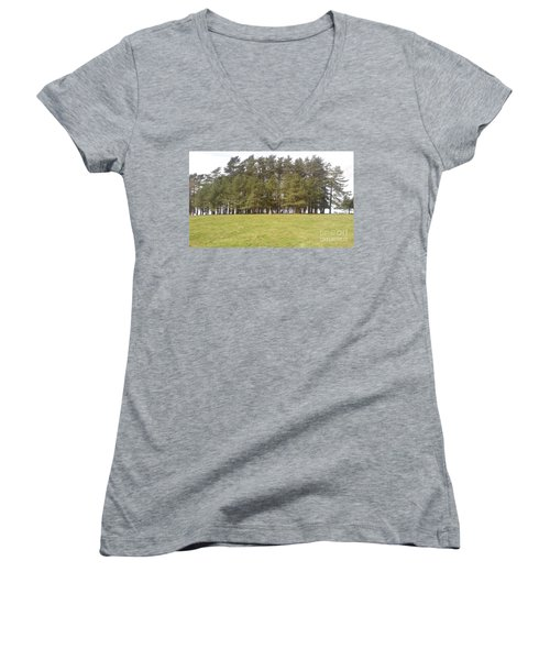 Women's V-Neck T-Shirt (Junior Cut) featuring the photograph May Hill Tree Tops by John Williams