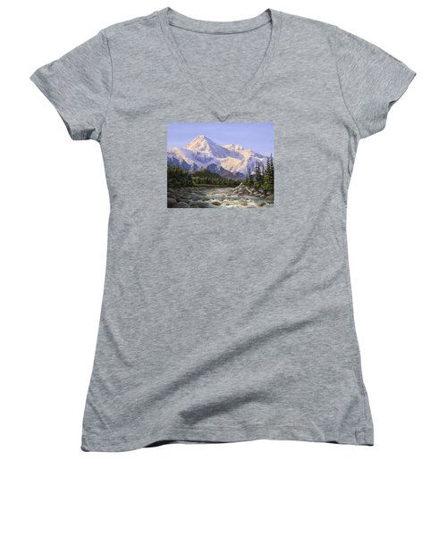 Majestic Denali Mountain Landscape - Alaska Painting - Mountains And River - Wilderness Decor Women's V-Neck