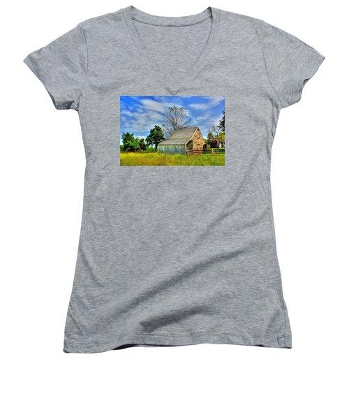 Mclean House Barn 1 Women's V-Neck T-Shirt (Junior Cut) by Dan Stone