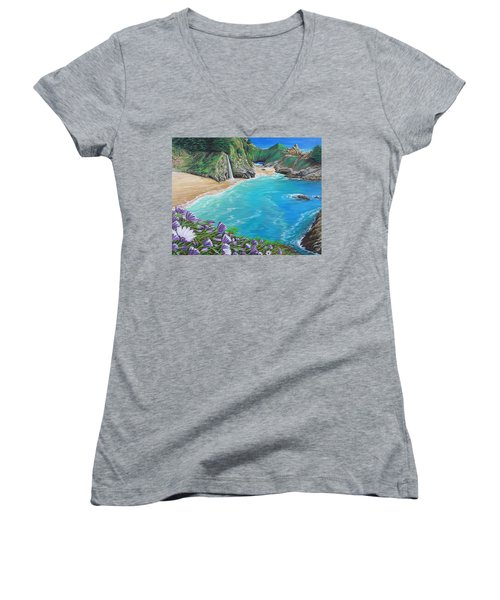 Women's V-Neck T-Shirt (Junior Cut) featuring the painting Mcway Falls by Jane Girardot