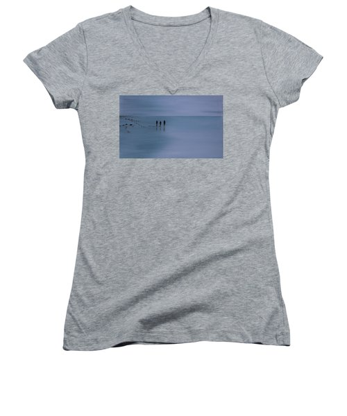 Women's V-Neck T-Shirt (Junior Cut) featuring the painting Mdt 1.2 by Tim Mullaney