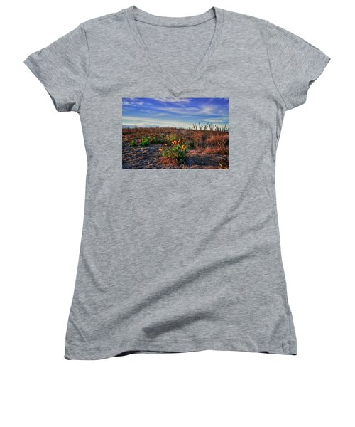 Women's V-Neck T-Shirt (Junior Cut) featuring the photograph Meadow Of Wild Flowers by Eti Reid