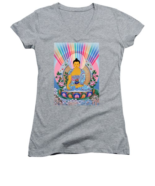 Medicine Buddha 1 Women's V-Neck (Athletic Fit)