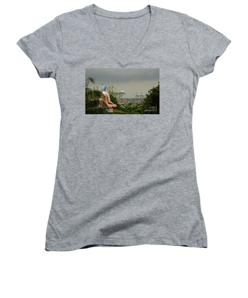 Women's V-Neck T-Shirt (Junior Cut) featuring the photograph Meditating Buddha Views Container Seaport Singapore by Imran Ahmed