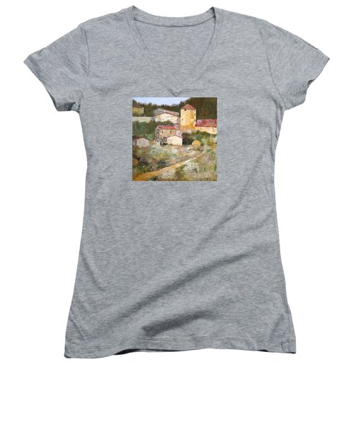 Mediterranean Farm Women's V-Neck T-Shirt (Junior Cut) by Alan Lakin