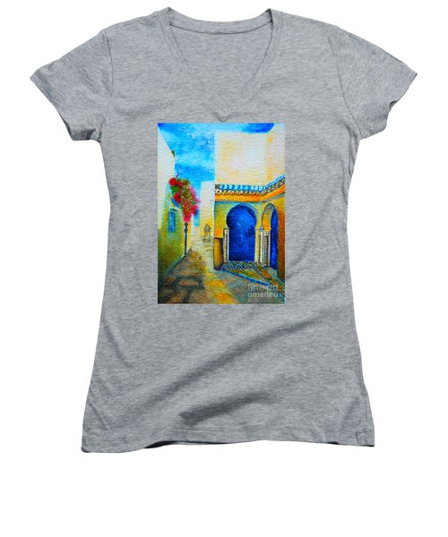 Women's V-Neck T-Shirt (Junior Cut) featuring the painting Mediterranean Medina by Ana Maria Edulescu
