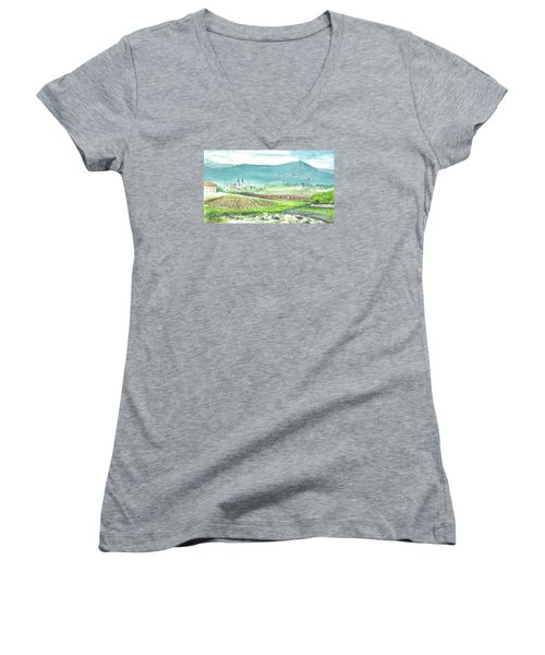 Women's V-Neck T-Shirt (Junior Cut) featuring the painting Medjugorje Fields by Christina Verdgeline