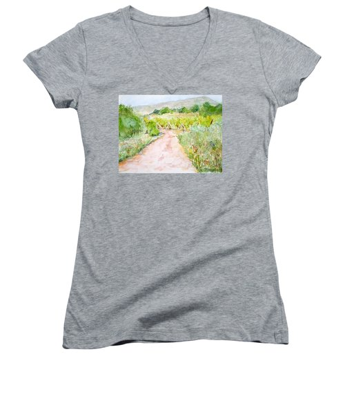 Medjugorje Path To Apparition Hill Women's V-Neck T-Shirt (Junior Cut) by Vicki  Housel