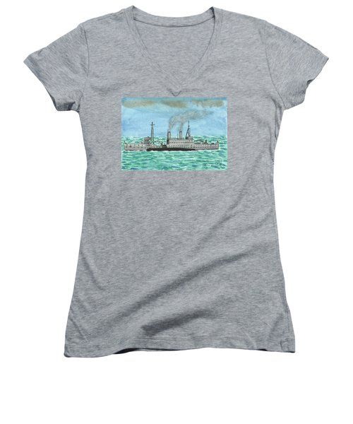 Women's V-Neck T-Shirt (Junior Cut) featuring the painting Meeting For Supplies  by John Williams
