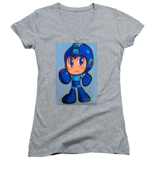 Women's V-Neck T-Shirt (Junior Cut) featuring the painting Mega Man by Marisela Mungia