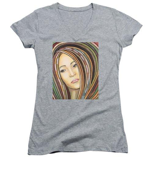 Melancholy 300308 Women's V-Neck T-Shirt (Junior Cut) by Sylvia Kula