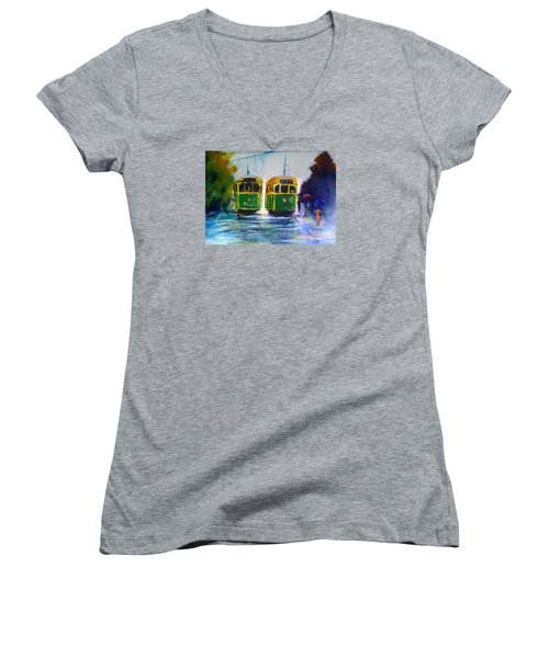 Melbourne Trams Women's V-Neck T-Shirt (Junior Cut) by Therese Alcorn