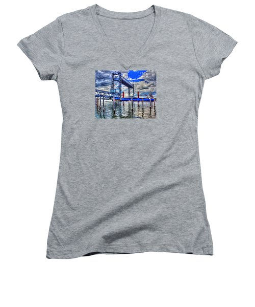 Memorial Bridge 034 Women's V-Neck T-Shirt