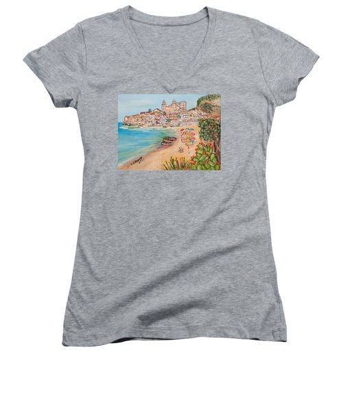 Memorie D'estate Women's V-Neck T-Shirt (Junior Cut) by Loredana Messina