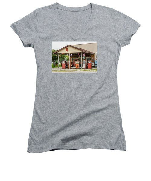 Women's V-Neck T-Shirt (Junior Cut) featuring the photograph Memories Of Route 66 by Sue Smith