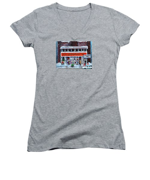 Memories Of Winter At Woolworth's Women's V-Neck T-Shirt (Junior Cut) by Rita Brown