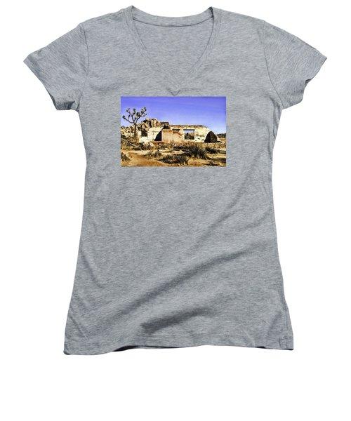Women's V-Neck T-Shirt (Junior Cut) featuring the painting Memory by Muhie Kanawati