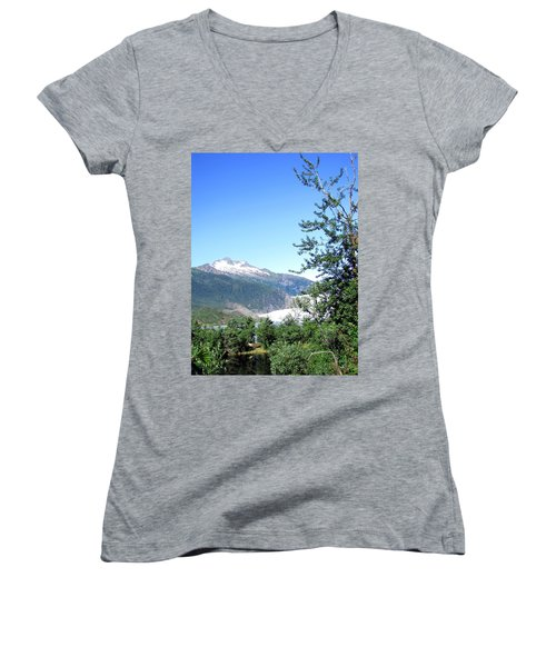 Women's V-Neck T-Shirt (Junior Cut) featuring the photograph Mendenhall Glacier by Jennifer Wheatley Wolf
